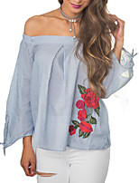 Women's Going out Party Sexy Sophisticated Blouse,Striped Floral Boat Neck ¾ Sleeve Rayon Polyester
