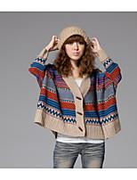 Damen Kurz Strickjacke-Ausgehen Lässig/Alltäglich Urlaub Einfach Street Schick Chinoiserie Einfarbig V-Ausschnitt Langarm WolleFrühling