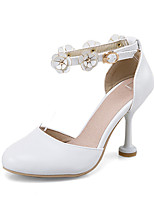 Sandals Spring Summer Fall Club Shoes PU Office & Career Party & Evening Dress Stiletto Heel Flower Pink White Beige