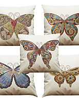 Set of 5 Mosaic Butterfly Pattern  Linen Pillowcase Sofa Home Decor Cushion Cover (18*18inch)