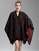 Women's Going out Casual/Daily Holiday Sexy Regular Cardigan,Striped Patchwork V Neck ½ Length Sleeve Cotton Polyester Fall Medium