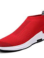 Черный Серый Красный-Для мужчин-Для прогулок Повседневный Для занятий спортом-Тюль-На плоской подошве-Удобная обувь-Кеды