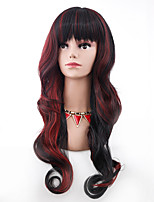 Fashion Black Mix Red Wig Long Wavy Curly Hair Women Cosplay Full Wigs Heat Resistant