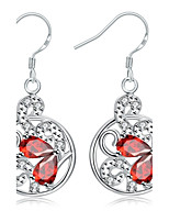 Elegant Silver Plated Red Crystal Art Hollow Round Lady Drop Earrings for Wedding Party Women Accessiories