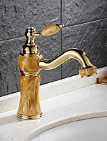 Contemporary Brass Ti-PVD Imitation Jade Bathroom Sink Faucet