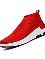 Для мужчин Мокасины и Свитер Удобная обувь Светодиодные подошвы Весна Тюль Повседневные Черный Серебряный Красный На плоской подошве