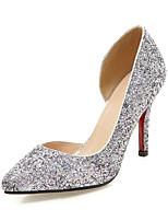 Damen-High Heels-Hochzeit Kleid Party & Festivität-Kunststoff-Stöckelabsatz-Club-Schuhe-Gold Schwarz Silber Rosa