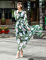 Women's Going out Casual/Daily Party Swing Dress,Print Round Neck Maxi Long Sleeve Polyester Spring Summer Mid Rise Inelastic Medium