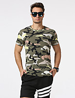 Men's Going out Casual/Daily Holiday Punk & Gothic T-shirt,Camouflage Round Neck Short Sleeve Blue Red Green Purple Cotton