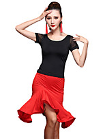Latin Dance Outfits Women's Training Spandex Tulle / Milk Fiber / Ruffles Splicing 2 Pieces Short Sleeve Natural Top / Skirt Dance Costume White / Red