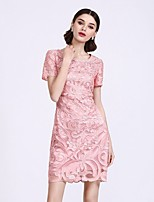 Women's Going out Work Beach Sexy Sophisticated Sheath Dress,Embroidered Round Neck Above Knee Short Sleeve Polyester Spring Mid Rise