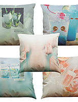 Set of 5 Summer Style  Pattern  Linen Pillowcase Sofa Home Decor Cushion Cover (18*18inch)