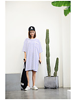 Women's Going out Casual/Daily Cute Spring T-shirt,Striped Round Neck Short Sleeve Cotton Medium
