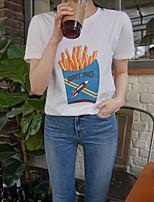 unterzeichnen ein neues T-Shirt gedruckt Rundhals Kurzarm Frauen&# 39; s Sommerspaß Pommes Studenten wildes Aufsitzen Basis