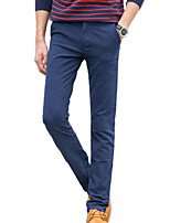 Men's Straight Chinos PantsCasual/Daily Simple Solid Mid Rise Button Cotton Polyester Spandex Inelastic All Seasons HY-M201