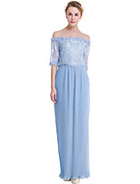 Fashion Wild Boat Neck Five Sleeves Solid Color Chiffon Temperament Long Skirt Party Cocktail Party Beach Holiday Leisure Dress