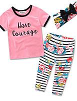 Girls Clothes Fashion Suit Kids Cottom Short Sleeve T-shirt Stripe Long Pants Baby Clothing Set Dress