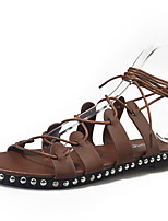 Women's Sandals Summer Mary Jane Leatherette Outdoor Dress Casual Flat Heel Rhinestone Lace-up Walking