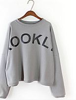 Women's Casual/Daily Simple Sweatshirt Letter Oversized Round Neck Micro-elastic Cotton Long Sleeve Spring