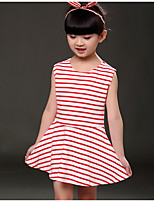 Girl's Striped Dress,Polyester Summer Sleeveless