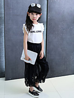 Girls' Going out Casual/Daily Holiday Print Patchwork Sets Cotton Summer Sleeveless Top Lace Pant 2 Piece Clothing Set