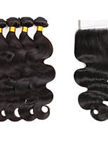 Natural Color Hair Weaves Indian Texture Wavy 6 Months 5 Pieces hair weaves