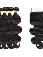 Tissages de cheveux humains Cheveux Indiens Ondulé 6 Mois 5 Pièces tissages de cheveux