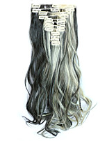 12pcs/Set 150g  Black WIth Bleach Blonde 55cm Wavy Hair Extension Clip In Synthetic Hair Extensions