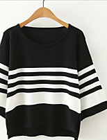 Women's Casual/Daily Simple Short Pullover,Striped Round Neck ½ Length Sleeve Cotton Spring Fall Thin Micro-elastic