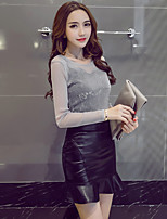 Sign Spring 2017 fashion new ladies Slim perspective shirt + PU leather skirt skirts two-piece
