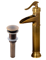 Antique Country Modern Centerset Waterfall with  Ceramic Valve Single Handle One Hole for  Antique Copper , Bathroom Sink Faucet