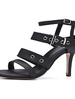 Feminino-Sandálias-Chanel Sapatos clube-Salto Agulha-Preto Vermelho-Courino-Social Festas & Noite