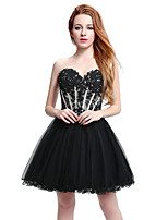 Cocktail Party Dress Ball Gown Sweetheart Short / Mini Tulle with Beading Embroidery
