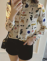 Women's Casual/Daily Simple Blouse,Animal Print Stand Long Sleeve Polyester Thin