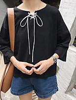 Damen Solide Niedlich Ausgehen T-shirt,Rundhalsausschnitt Frühling Sommer ¾-Arm Baumwolle Mittel