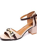 Women's Sandals Summer T-Strap Leatherette Outdoor Dress Casual Chunky Heel Block Heel Buckle Metallic toe Black Beige Yellow Walking