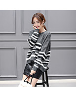 Women's Going out Casual/Daily Simple Regular Pullover,Solid Striped Round Neck Long Sleeve Acrylic Spring Fall Medium Micro-elastic