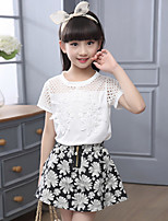 Girls' Going out Casual/Daily Holiday Patchwork Sets Cotton Summer Short Sleeve Lace Top Floral Skirt 2 Pieces Clothing Set