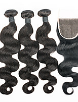 Body Wave Human Hair Weaves With Lace Closure 3pieces Hair Bundles With 1piece Closure