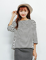 Women's Going out Simple T-shirt,Striped Round Neck ¾ Sleeve Cotton