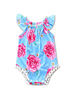 Baby Girl Going out Beach Floral Print One-Pieces Cotton Polyester Newborn Summer Sleeveless Triangle Conjoined Clothes