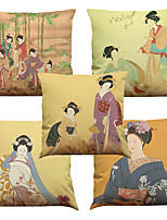 Set of 5 Ancient Japanese Woman Pattern  Linen Pillowcase Sofa Home Decor Cushion Cover (18*18inch)