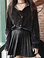 Sign 2016 Korean version of the fall and winter joker PU leather skirt waist was thin skirts pleated skirt little black dress