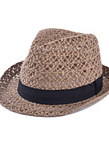 Summer Hollow Breathable Woven Straw Bow Knot Jazz Hat
