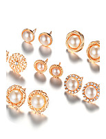 Stud Earrings Imitation Pearl Euramerican Fashion Alloy Round Jewelry For Daily 1set