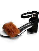 Women's Sandals Summer Club Shoes Fleece Outdoor Dress Casual Chunky Heel Block Heel Buckle Pom-pom Black Gray Light Brown Walking