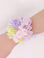 Wedding Flowers Free-form Peonies Wrist Corsages Wedding Party/ Evening Pink / Green / Purple Polyester Lace