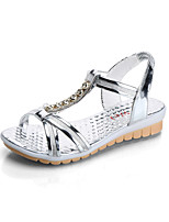 Women's Sandals Summer Mary Jane Leatherette Outdoor Dress Casual Flat Heel Rhinestone Walking