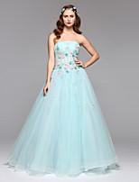 Formal vestido de noite - elegante uma linha strapless assoalho-comprimento organza tulle com beading flor (s) pregas