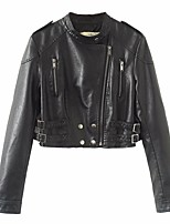 Women's Going out Casual/Daily Simple Spring Leather Jacket,Solid Stand Long Sleeve Short PU